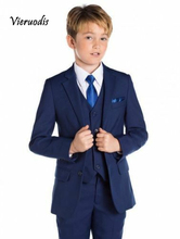 Blue Flower Boys Children Wedding Groom Tuxedos Kid's Formal Party Prom Suits