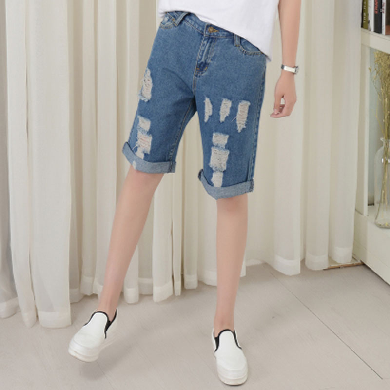 7fe5449c9f Boyfriend Style Straight Denim Shorts Knee Length Hole Ripped Jeans For Women  Low Waist Blue Vintage Casual Loose Denim Shorts-in Shorts from Women's ...