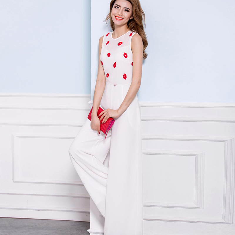 2019 Women Summer Jumpsuit Party Rompers Chiffon High Street Elegant Full Length Red Lips Print Jumpsuits Plus Size 3XL 4XL