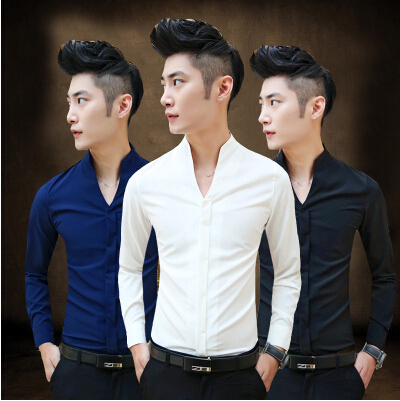 2016 New mens shirt men cultivating solid color V-neck long-sleeved shirt Mens casual sh ...