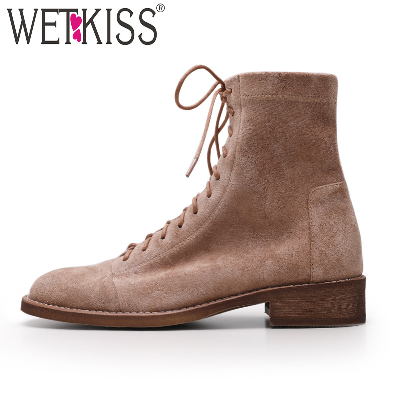 WETKISS Spring Low Heels Women Ankle Boots Round Toe Lace Up Footwear Stretch Fur Suede Female Boots Motorcycle Shoes Woman 2019WETKISS Spring Low Heels Women Ankle Boots Round Toe Lace Up Footwear Stretch Fur Suede Female Boots Motorcycle Shoes Woman 2019
