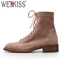 WETKISS Spring Low Heels Women Ankle Boots Round Toe Lace Up Footwear Stretch Fu