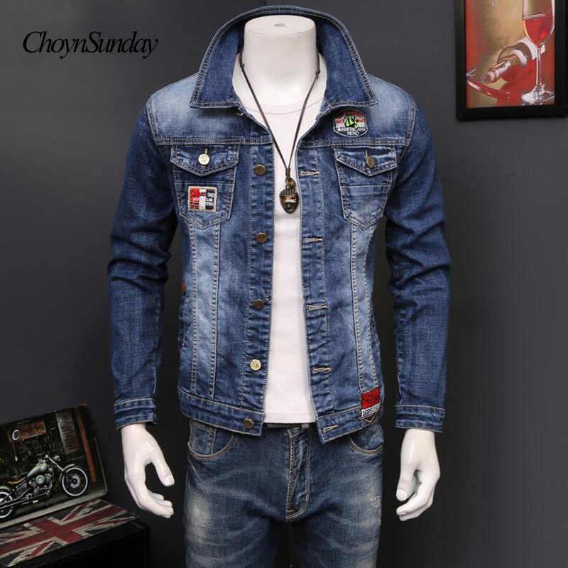 フィット男性洗浄モーターバイカー長袖生き抜くコートプラスサイズのデザイナー服デニムジャケット Y