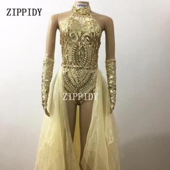 Fashion Gold Sequins Bodysuit Female Singer Performance Outfit Sexy Celebrate Glisten Two Pieces Costume Stage Long Tail Wear