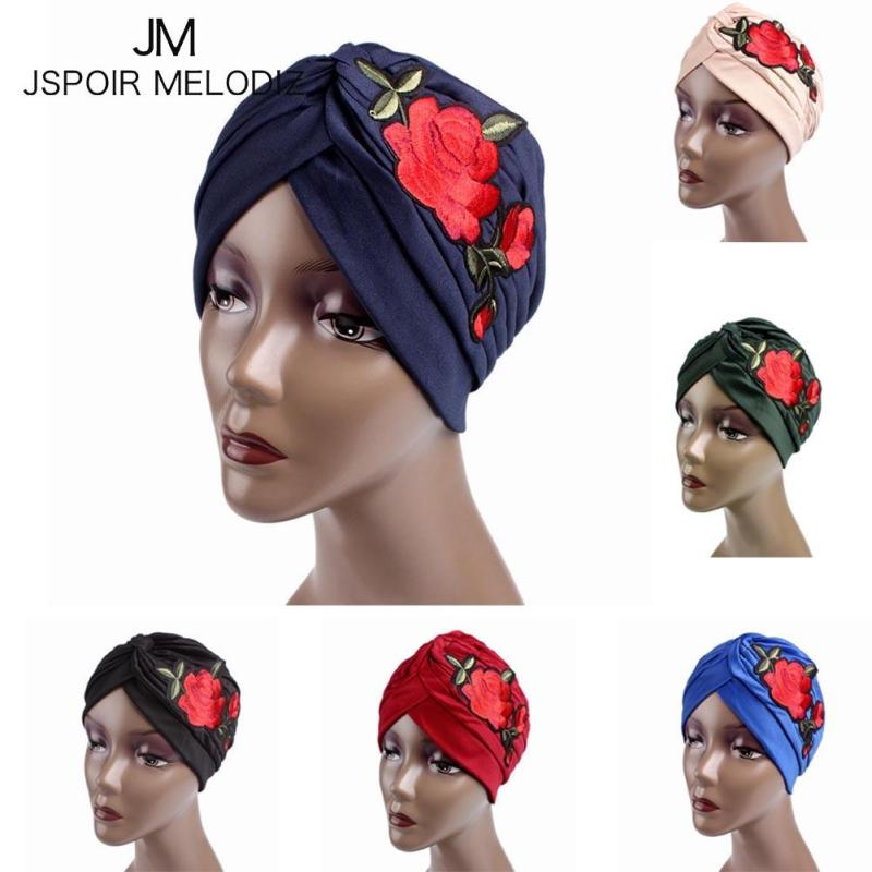 Women Rose Embroidery Cancer Chemo Hat Beanie Scarf Turban Head Wrap Cap girl Knitted Casual Polyester Flower Hats new cotton slouchy wrinkle cap double flower floral beanie hats for cancer chemo patients