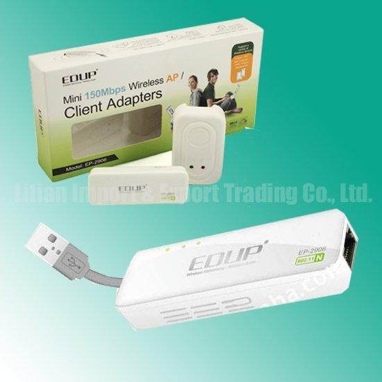 Fast Shipping EDUP EP-2906 Portable Mini 150M Wireless-N USB Wifi AP Router Wholesale/Retail