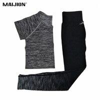 MAIJION Mulheres Yoga Esporte Conjunto Terno, ginásio Correndo Yoga Shirt Tops + Elastic Calças Justas Leggings de Fitness Roupas de Ginástica Treino