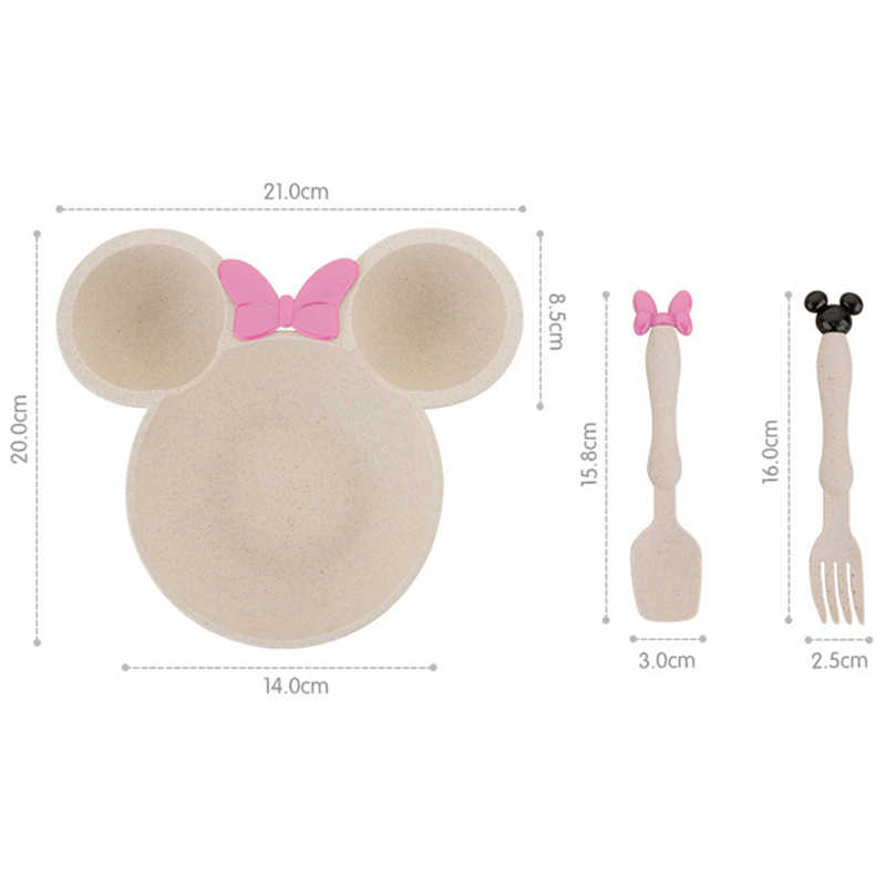 เด็กการ์ตูน Mickey อาหารชุดฟางข้าวสาลีชุดของแข็งน่ารักจานเด็กจานชามเด็กให้อาหารจานอาหารค่ำชุด TY0387