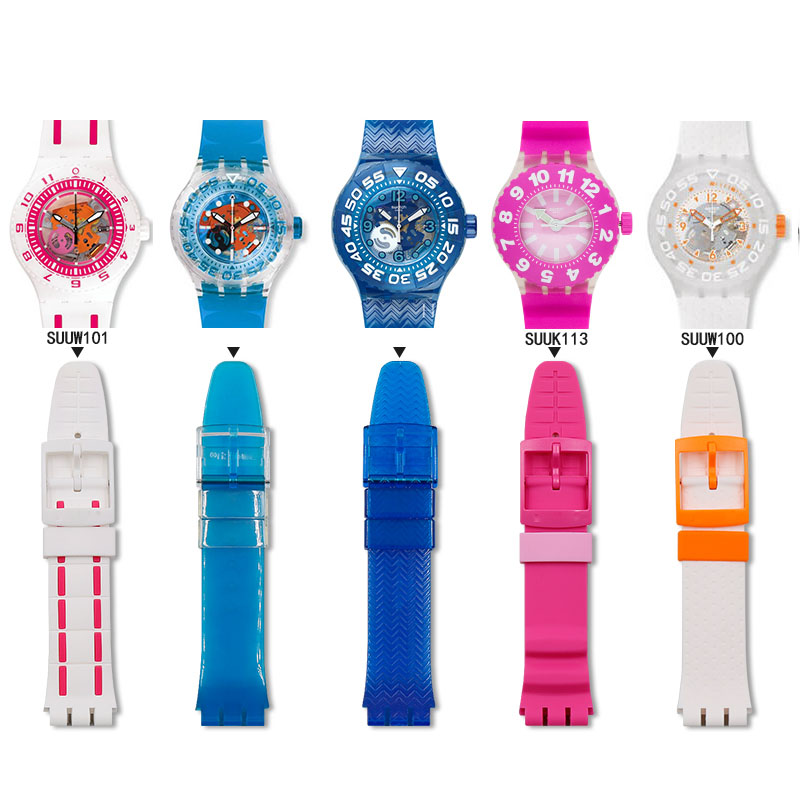 Watch Accessories Pin Buckle Silicone Strap For Swatch Strap Diving Series SUUB101SUUW101 Sports Waterproof Strap Men Watch Band
