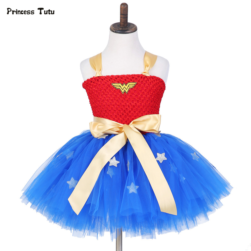 Pink Blue Girls Tulle Tutu Dress Baby Kids Cosplay Superman Dress Halloween Costume Wonder Woman Super Girl Birthday Party Dress