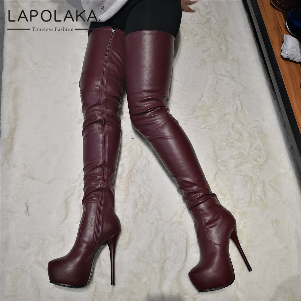 Lapolaka Brand Design Big Size 35-47 Sexy Womens Shoes Woman Party Wine Red Super High Heels Over The Knee Boots Long BootsLapolaka Brand Design Big Size 35-47 Sexy Womens Shoes Woman Party Wine Red Super High Heels Over The Knee Boots Long Boots