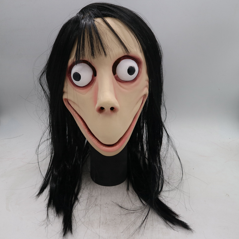 Female Ghost Long Wig Full Head Props Festival Party Cosplay props Death Hacking Game MOMO Mask Halloween Scary Latex Mask 网 红 小 姐姐