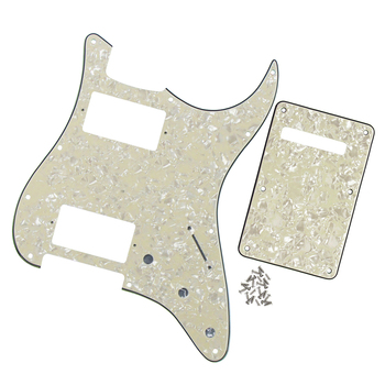 FLEOR Set of Guitar Pickguard HH Back Plate Tremolo Cover with Screws for 11 Hole Strat Style Guitar Aged Pearl 4Ply