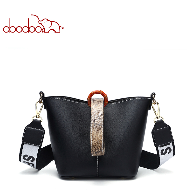 Doodoo Fashion Pu Leather Women Bag Bucket Double Shoulder Strap Large Capacity Handbag Female Crossbody Bags Wide In From