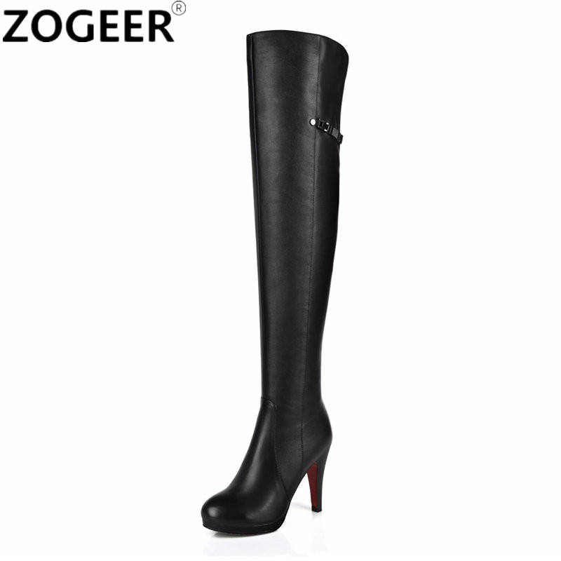 Top Quality 2018 Hot Fashion Women Boots Sexy High Heels Over the Knee Boots PU leather Platform Black Thigh High Shoes Woman hot sale fashion long boots for women nubuck leather sexy high heels over the knee boots shoes ladies platform boots cn a0012