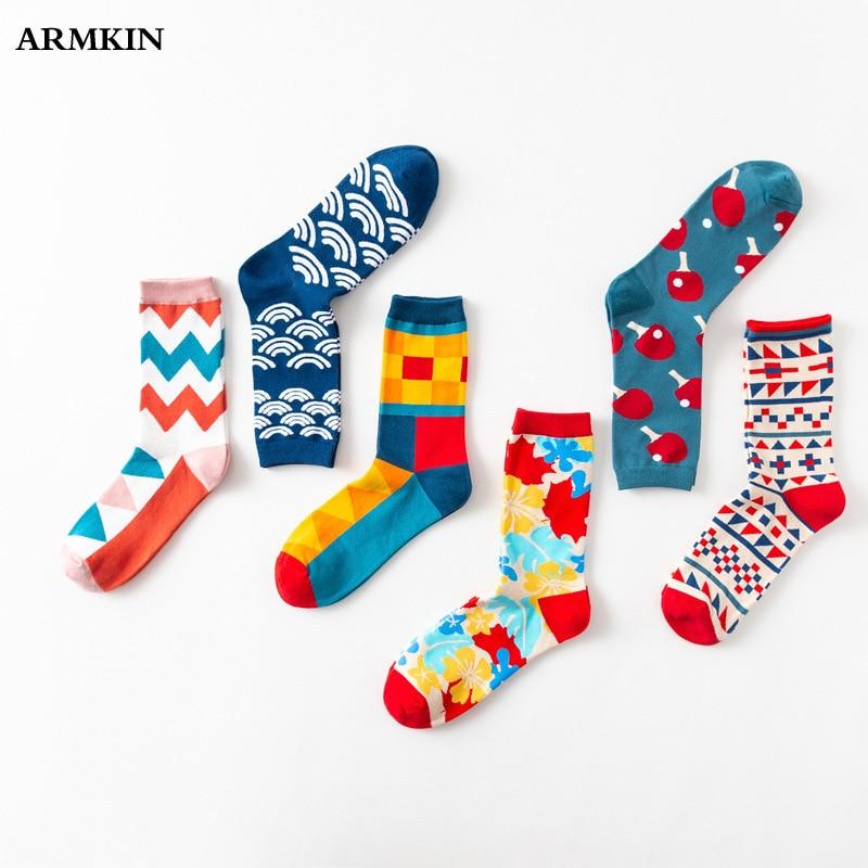 ARMKIN Harajuku Men Socks Flower Table Tennis Bats Vintage Cotton Women Socks Lovers Socks Happy Funny Socks For Christmas