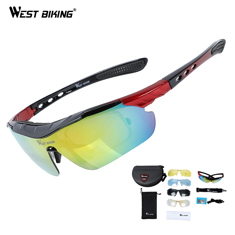 WEST BIKING Bicycle Sunglasses Polarized Glasses Outdoor Sport Motorcycle UV400 Bike Goggles 5 Lens Women Men Cycling Eyewear