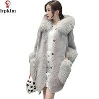Faux Fur Coat Women Red Gray Fur Hooded Fur Jacket Mink Luxury Women Long Coat Imitation Fur Jacket Women Coat LZ226