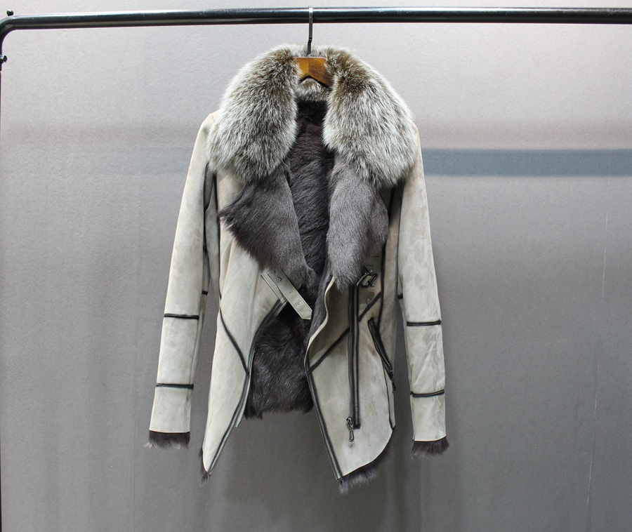 100% genuine sheepskin leather with fur coat slim with fox fur collar (1)
