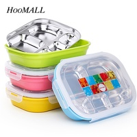 Hoomall Double Layer 304 Stainless Steel Lunch Box Hot Water Insulation Sealed Bento Box Students Office