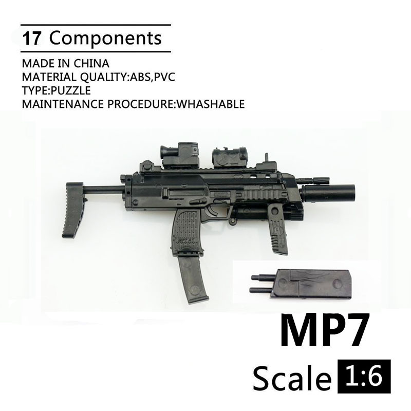 1:6 MP7 Submachine Gun Double Form Plastic Assembled Firearm Puzzle Model For 1/6 Soldiers Military Weapons