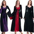Vitoriano Trajes de Halloween Traje Da Bruxa Do Hoodie Mulheres Vestido Longo Cosplay Roupas Mulheres 2015 Vitoriano Trajes de Halloween