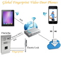 New wireless ip wifi video door phone Fingerprint intercom system remote control via Smartphones Support ISO Android Device