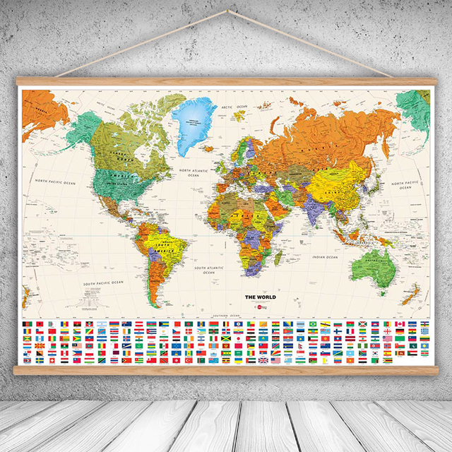 World Map Wall Poster Canvas Oil Prints Painting National geographic World Map Wall Art  World Map Wall Poster