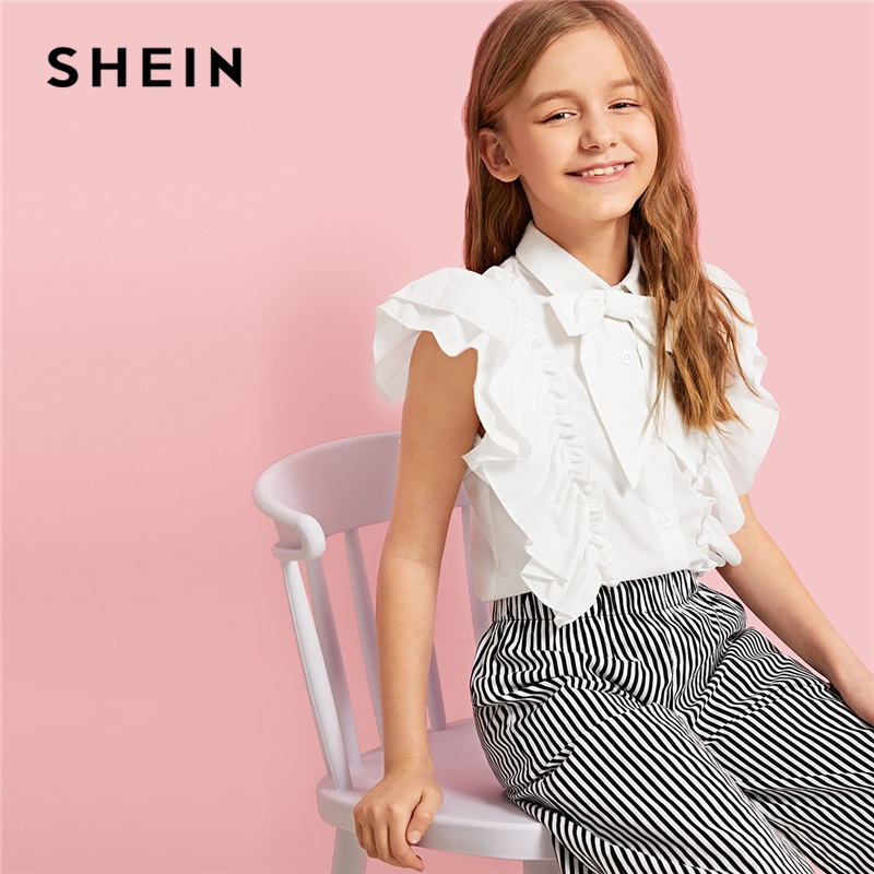 SHEIN Kiddie White Tie Neck Tiered Layer Ruffle Girls Cute Blouse Kids Tops 2019 Summer Sleeveless Button Front Preppy Shirts pink sexy plunge v neck sleeveless bodycon dress