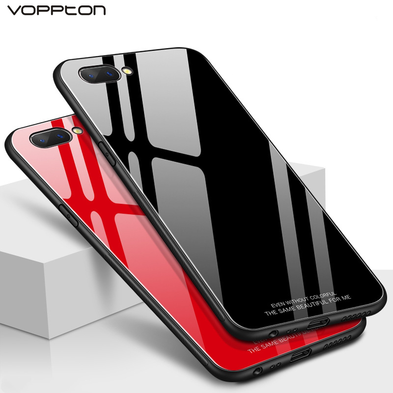 new styles 7d7f2 a866d US $3.52 25% OFF|Voppton For OPPO A3s A5 Case Slim Glossy Tempered Glass  Soft Silicone Frame Shockproof Hard Cover Case For OPPO A5 A3s capa-in  Fitted ...