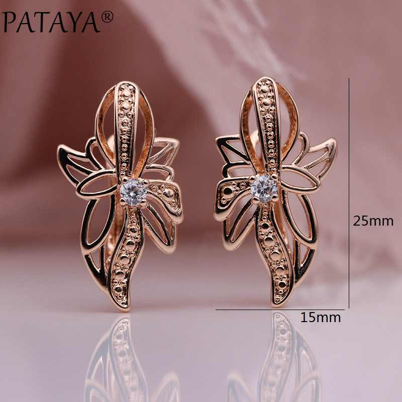 PATAYA New 328 Anniversary 585 Rose Gold Hollow Earrings For Women Party Fashion Jewelry White Natural Zircon Butterfly Earring