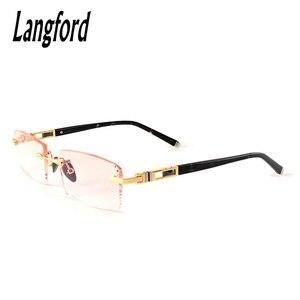 Оправа для очков без оправы Золотые очки оправа для мужчин оправа для очков без оправы дизайнерские Роскошные Алмазные Режущие линзы для бл...