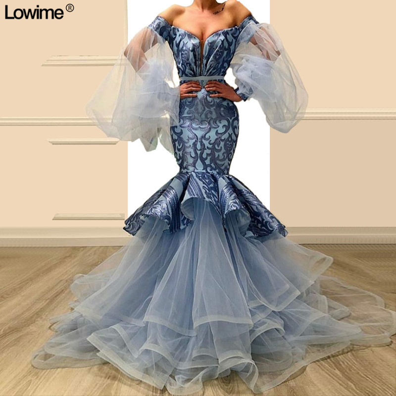 2019 New Fashion Long Mermaid   Evening     Dresses   2019 Dubai Off-Shoulder Backless Prom Gowns Sexy Celebrity   Dresses   Robe De Soiree