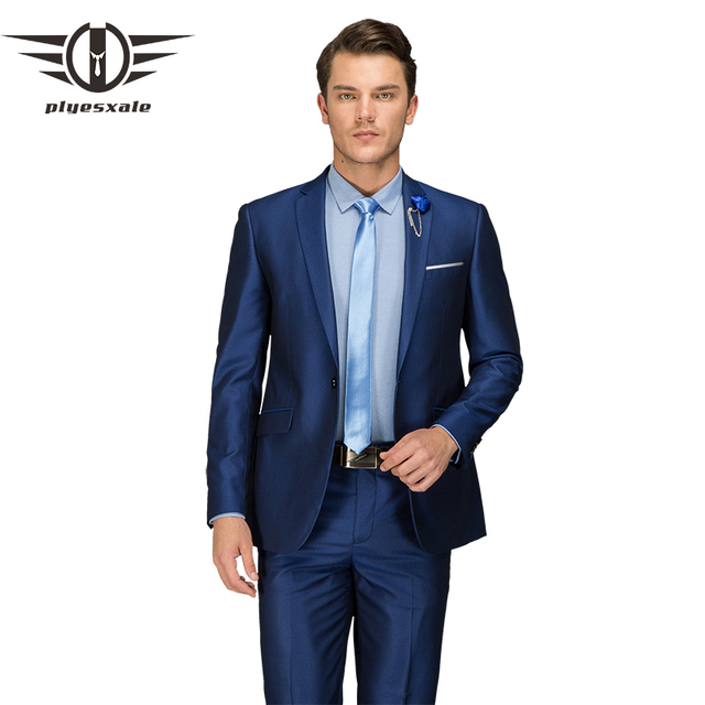 Plyesxale Mens Blue Wedding Suits Luxury Brand Male Business 2018 Latest Korean Fashion One On