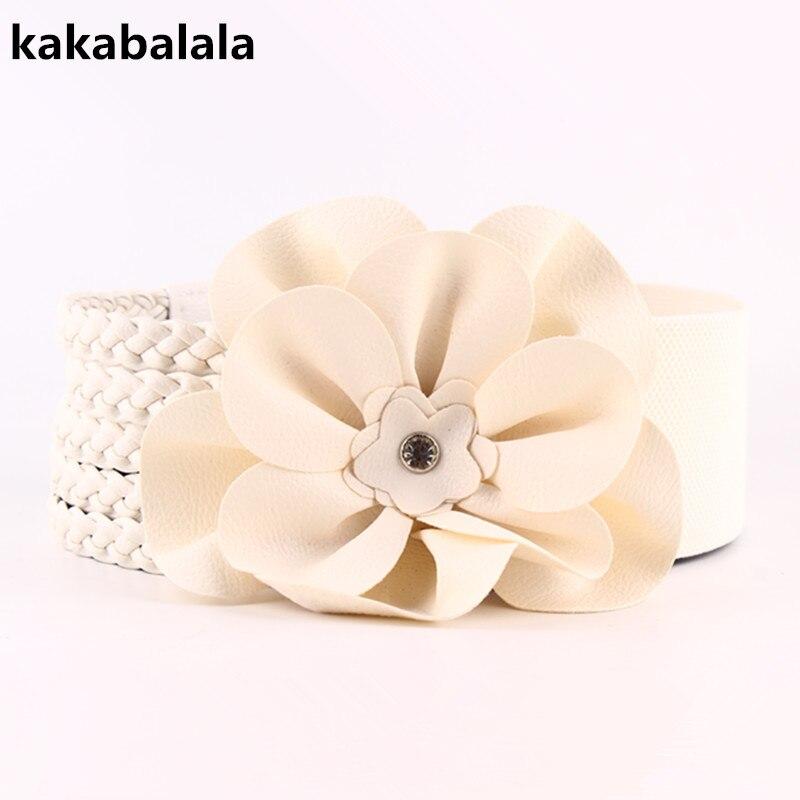 New Cummerbunds  Fashion  Belts Women Elastic Wide Belts White Decorative Dresses Large Flowers Waist