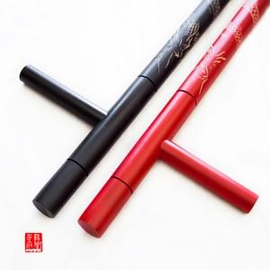 Image 2 - (2 cái/lốc) T lần lượt đôi Tonfa võ nghệ thuật đôi Guaizi duckweed khắc gỗ stick lần lượt đông chuyển sang màu đỏ đen bằng gỗ Tonfa
