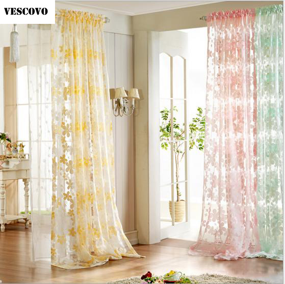 VESCOVO Lace Embroidered Voile Sheer Curtains Window Tulle Curtains For Bedroom  Decoration In Curtains From Home U0026 Garden On Aliexpress.com | Alibaba Group
