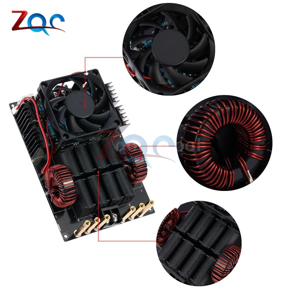 DC 12-40V 50A 1KW ZVS Low Voltage Induction Heating Board High Frequency 1000W High Voltage Generator for Melt Metals zvs low voltage dedicated induction heating machine high frequency large heat sink board copper tube cooling fan