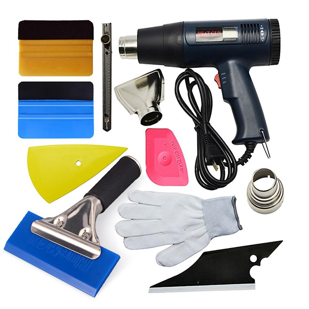 FOSHIO Car Tool Set Vinyl Film Wrap Hot Air Gun LCD Heat Gun Sticker Remove Squeegee Art Knife Gloves Exterior Accessory Kit