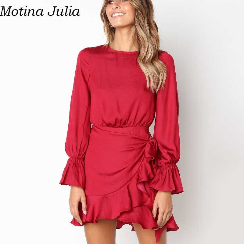 Detail Feedback Questions about Motina Julia Ruffle short wrap dress female  Autumn red bow o neck party dress women vestidos Winter elegant mini dresses  on ...