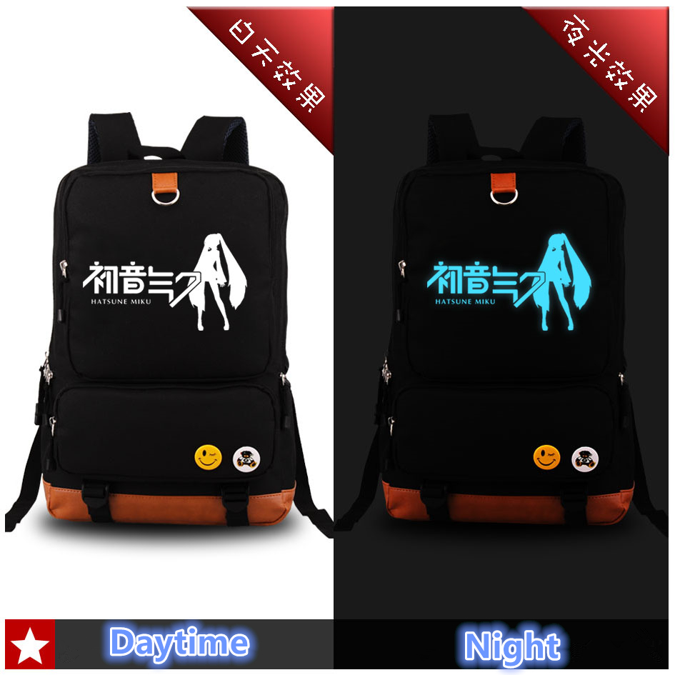 High Quality Harajuku Hatsune Miku Cosplay Luminous Women Printing Canvas Backpack School Bags for Teenagers Mochila Escolar dropship harajuku anime sword art online sao canvas galaxy luminous printing backpack school bags for teenagers mochila feminina