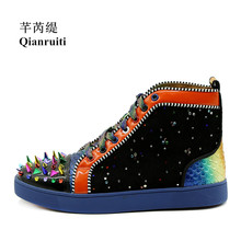Qianruiti Men Mixed Color Spike Shoes Fish Scale Patchwork Multicolor Rhinestone Sneaker Lace-up Flat High Top Men Camping Shoes
