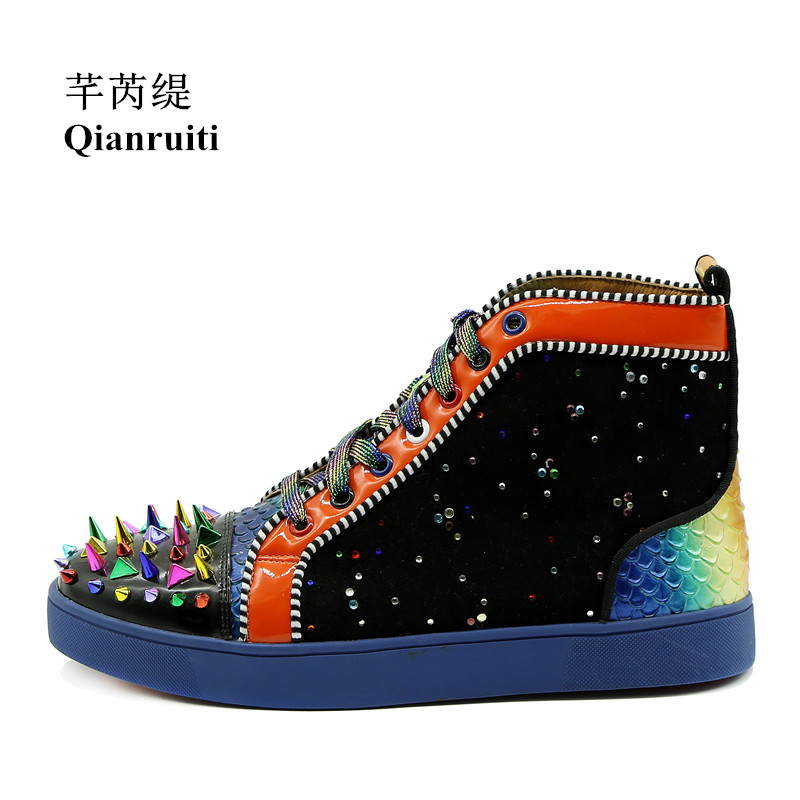 Qianruiti Mixed Color high top sneakers Men Spike Shoes Fish Scale Patchwork Multicolor Rhinestone Lace-up Flat Camping Shoes