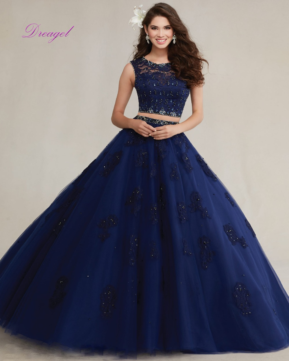 Dreagel New Elegant Scoop Collar Fancy Lace Crystal Beaded Quinceanera Dress Exquisite Organza Appliques 15 Anos Debutante Dress