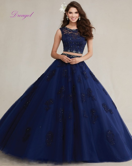 Dreagel New Elegant Scoop Collar Fancy Lace Crystal Beaded Quinceanera Dress Exquisite Organza Appliques 15 anos Debutante Dress