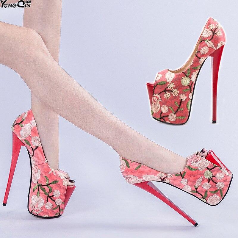 Mujeres Bombas 20 Sexy Tacones Plus rojo Beige Tamaño Cm Finos Altos Tacón  Bordado Zapatos Las ... 6214f090072a