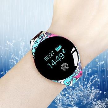 Esporte Relógio Bluetooth Inteligente Com Tela de Toque Grande Apoio Da Bateria de monitoramento da freqüência cardíaca fotografia Remoto Para IOS Android Phone