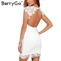 BerryGo Sexy Backless White Lace Dress Women Hollow Out Club Party Mini Dress Female Short Sleeve