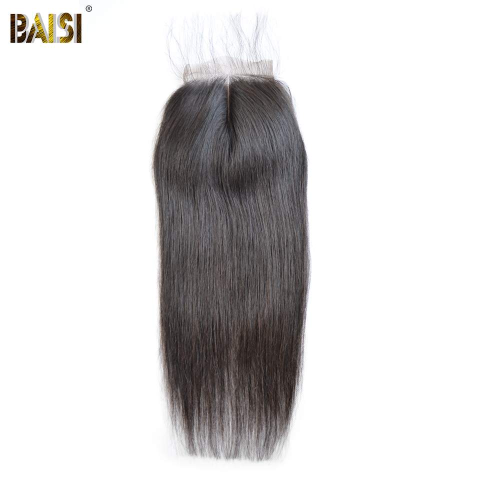 BAISI Peruvian Straight Hair Swiss Lace Closure 4x4 Free part Middle Part Three Part 100 Human
