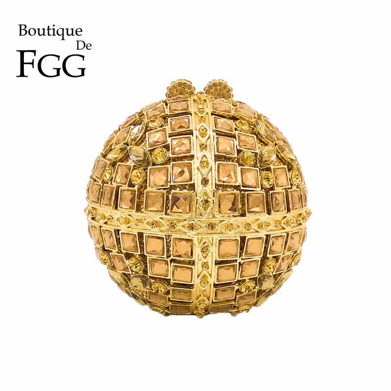 Round Minaudiere Fashion Handbag Women Gold Crystal Clutch Evening Bags Metal Clutches Bridal Party Wedding Purse Bolso De Mano bridal wedding flower clutch crystal bags metal gold women evening clutches party cocktail dinner minaudiere bag smyzh e0328
